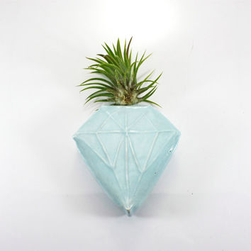Blue Diamond Magnetic Bud Vase | wall pocket holds water flower air plant pen holder | robin's egg blue | geometric decor | made to order