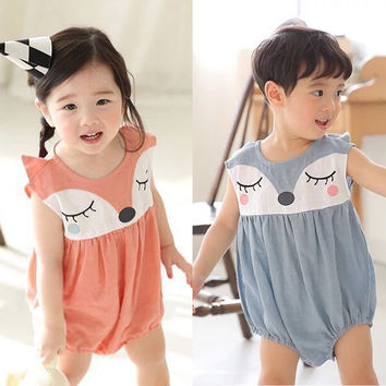 Rompers Cute Cartoon Fox Minions Cute Cotton Newborn Baby Boy Girls Clothing Infant Rompers Cute Summer Clothes Baby Summer