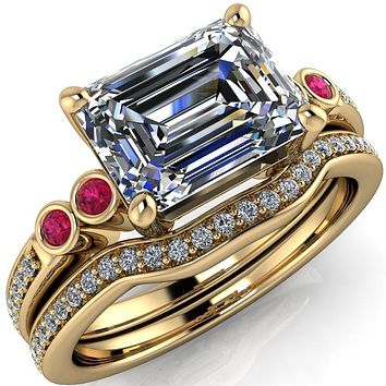 Philippa Emerald Moissanite 4 Ruby Sides 4 Prong Under Bezel Multi Stone Engagement Ring