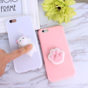 3D Cute Squishy Bear Seal Phone Case For iphone 5 5s se 6 6s 7 7 plus 6 6s plus 8 plus Case Cover Stress Reliever Bags Squeeze