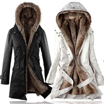 Women's Long Faux Fur Lined Thermal Parka