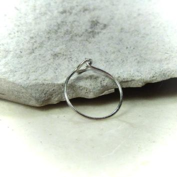 Super Thin Solid 14k White Gold Nose Ring