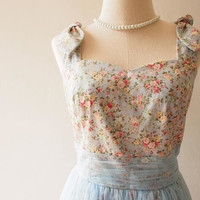 FAIRY ROMANCE - Blue Tulle Dress Tutu A Line Party Dress Vintage Rustic Wedding Dress Vintage Floral Dress Floral Sundress Summer Dress