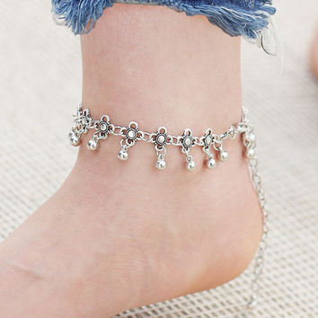 17KM Hot  Silver Color Anklets for Women Vintage Bracelet  Bohemian Flower chaine cheville barefoot sandals halhal Foot Jewelry