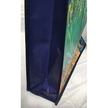 Reusable shopping bag Vincent van Gogh irises painting green blue on both sides 16H