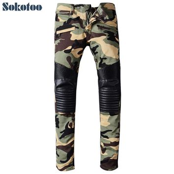 Sokotoo Men's camouflage PU leather patchwork spliced biker jeans for moto Casual fashion pleated denim pants Long trousers