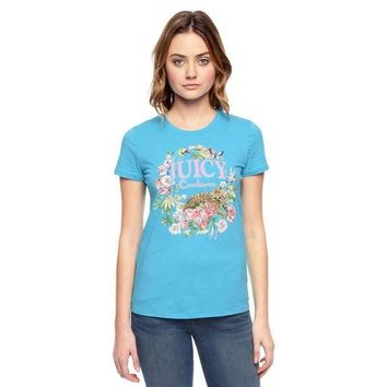 PEAP2Q Juicy Couture Floral Tiger Graphic Tee T011 Women T-shirt Blue