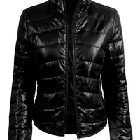 LE3NO Womens Lightweight  Zip Up Puffer Jacket (CLEARANCE)