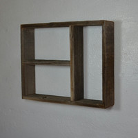 Wood wall shelf rustic shadow box style 16x13