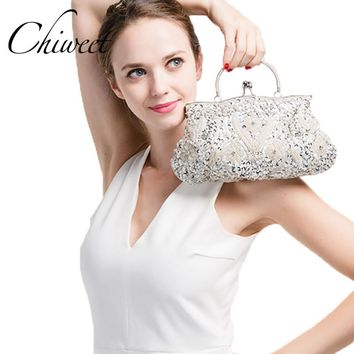 Vintage Evening Beaded Bags White Silver Wedding Bags For Bride Women Messenger Party Handbags Elegant Handmade Clutch Purses