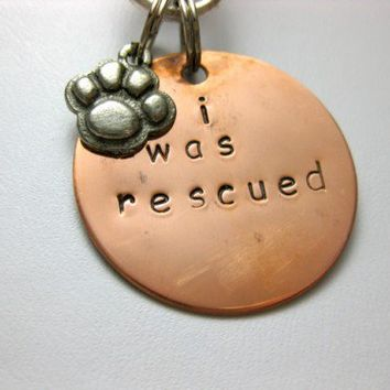 I was rescued hand stamped pet tag and paw print charm   RockBug - Pets on ArtFire