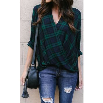 Ladies Blouse V Neck Green Plaid Front Cross Shirt Tops Long Sleeve Blouse Women Casual Loose Shirt