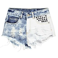 Dalia Distressed Two Tone Stud Denim Hotpants