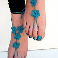 Teal Barefoot Sandals, barefoot sandles, Foot Jewelry, Beach Wedding, Bridesmaid accessory