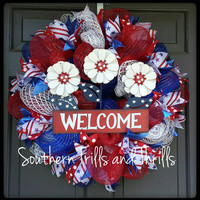 Patriotic Wreath, Deco Mesh Wreath, Mesh Wreath, 4th of July Deco Mesh Wreath, Door Wreath, Independence Day Wreath, Holiday Wreath