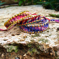 Gold and purple cold color Friendship Bracelet, winter friendship bracelet