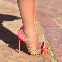 Pointed Toe Sexy Studded Spike Pumps