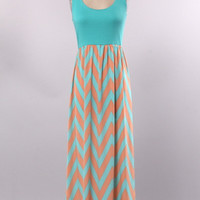 Summer Breeze Tank Dress - Aqua and Tangerine