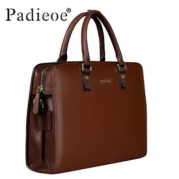 Vintage Cowhide Leather Briefcase Men Business Laptop Tote Bags Casual Men's Leather Messenger Shoulder Bag Handbags
