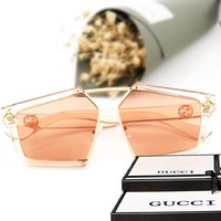 GUCCI New fashion sunglasses big box nude polygon glasses