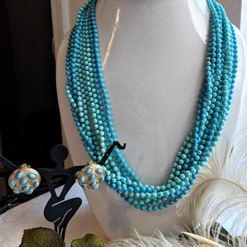 Vintage Multi Strand Faux Turquoise Beaded Necklace Earrings Demi-Parure Jewelry Set