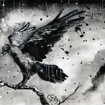 Ink painting on canvas A4 - Raven on a branch