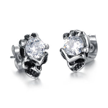 Vintage Stainless Steel Accessory Shinning Crystal Drill Stud Earrings for Fall Winter [9047551431]