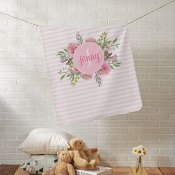 Pink Stripes and Flowers Baby Blanket