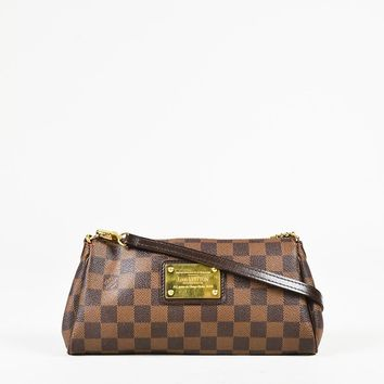 "Louis Vuitton Brown ""Damier Ebene"" Coated Canvas Gold Tone ""Eva"" Shoulder Bag"