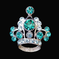 Teal And Light Blue Rhinestone Crown Brooch Pin, In Silver Tone