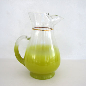 Vintage Blendo Pitcher Beverage Serving Glass Lime Green Chartreuse Large 1960s