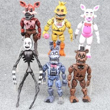 6pcs a lot Kids freddy toys  at  action figure toys 10-16cm Bonnie Foxy Freddy Fazbear Bear doll model toys