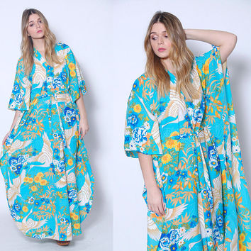 Vintage 80s Caftan ASIAN  Flower & BIRD Print Maxi Dress Printed Hippie Dress BOHO Caftan Hawaii Dress
