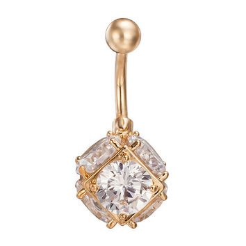 Colorful Square Emulational Crystal Ball Navel Ring Buckle Body Puncture    gold plated white zircon