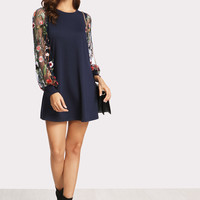 Botanical Embroidered Mesh Sleeve Longline Pullover -SheIn(Sheinside)
