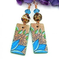 Turquoise Tan Leaf Foliage Earrings, Polymer Clay Handmade Jewelry