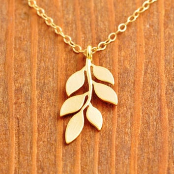 Gold Leaf Necklace - tiny leaf necklace, dainty leaf necklace, 5 leaf necklace, gold filled necklace, mini leaf necklace