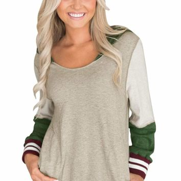 Varsity Striped Oatmeal Colorblock Hoodie