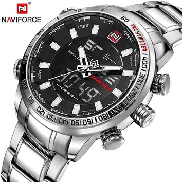 NAVIFORCE Watch: Men's Quartz Analog Waterproof Stainless Steel Watch