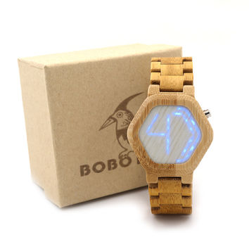 BOBO BIRD E03 Bambooo Wooden Hexagonal Form WristWatch Mens Kisai Wood Led Watch Unique Night Vision Full Wood Clock With Box