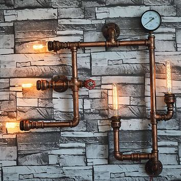 5 Heads Water Pipe Steampunk Vintage Wall Lights For Dining Room Bar Home Decoration American Industrial Loft E27 Wall Sconce
