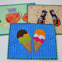 Summer Tablemat . Set of Three . Tablemat .  Mug Rug