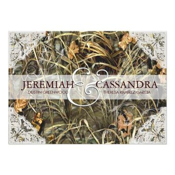 Camo and White Lace Wedding Invitation