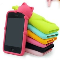 3D Cute Lovely Cartoon Cat Shy Case Cover For Apple iPod Touch 5 5th Gen (Mint)