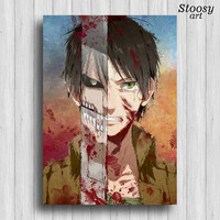 attack on titan art poster eren print anime art manga print shingeki kyojin