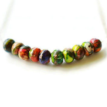 Rainbow Jasper Necklace, Sea Sediment Jasper & Pyrite Necklace, Rhodium Silver Plated Copper Necklace, Bar Necklace, Colorful Necklace
