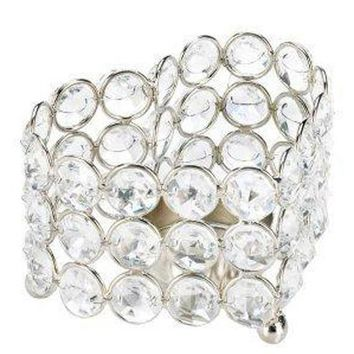 Iron Crystal Heart Candle Holder