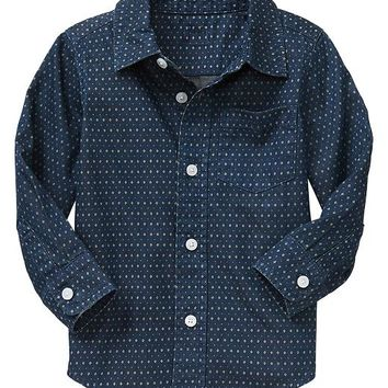 Gap Baby Factory Print Chambray Shirt