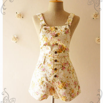 Summer Play Floral Overall Shorts Overall Jumper Summer Overall Floral Jumper White Khaki with Light Pink Yellow English Rose -Size XS-
