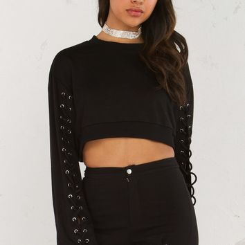 Lace Up Detail Crop Top in Black